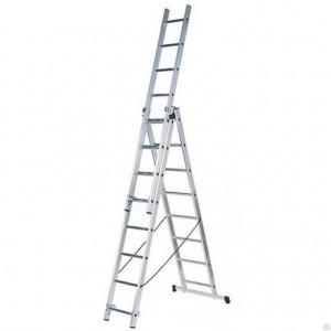 Лестница трехсекционная алюминиевая 3х8 ступеней