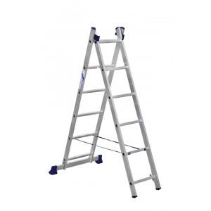 Лестница алюминиевая двухсекционная 2х6 ступеней