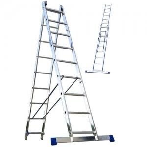 Лестница алюминиевая двухсекционная 2х9 ступеней
