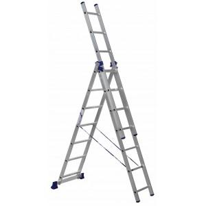 Лестница трехсекционная алюминиевая 3х7 ступеней