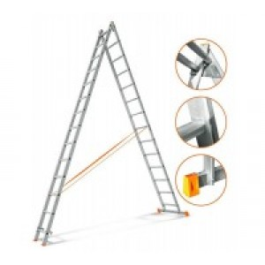 Лестница алюминиевая двухсекционная профессиональная 2х18 ступеней
